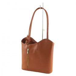 Women's Leather Bags - 1069 - Shoulder Bag / Backpack